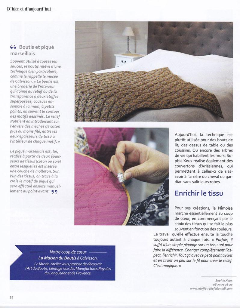 article de presse Boutis-et-piqué-marseillais